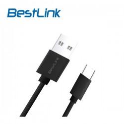 Cable USB Tipo C Carga Rápida de 2,4amp Negro 1m