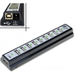 Mini Hub 10 Puertos USB 2.0 Cargador 2A