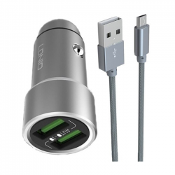 Cargador Auto 3.6A C/Cable Iphone 2 USB Mod. C302