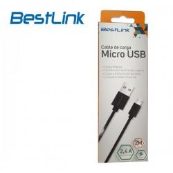 Cable Cargador de 2,4amp Micro USB Negro 2m