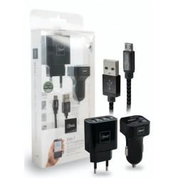 Kit Cargadores Casa y Auto Micro USB Mlab