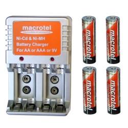 Cargador de Pilas AA, AAA y 9V + 4 Pilas AA Recargables Macrotel